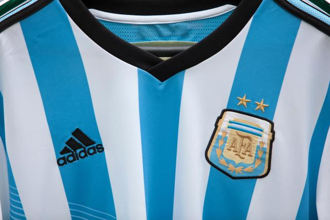 The official soccer shirt of Argentina, manufactured by Adidas.