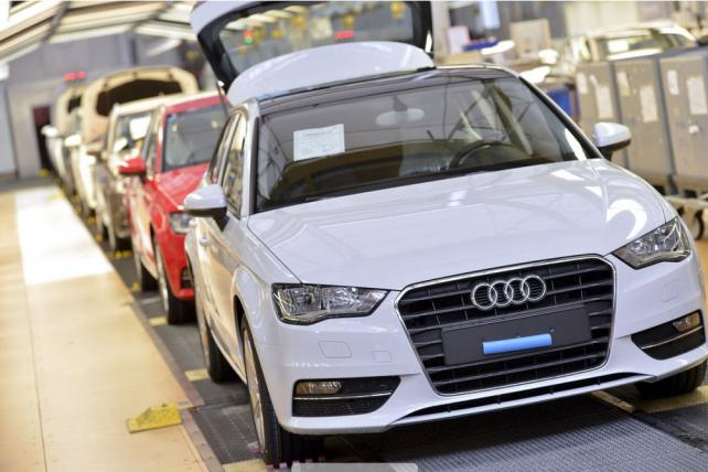 Audi A3 vehicles await final inspection at a plant in Germany.