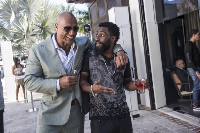 Dwayne 'The Rock' Johnson and John David Washington in HBO's 'Ballers.'