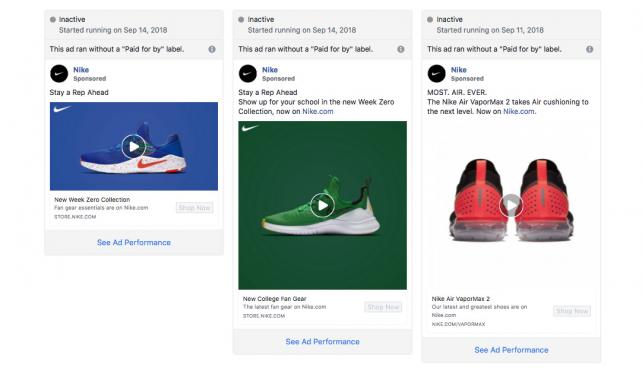 These Nike ads were caught in Facebook's political ad review.