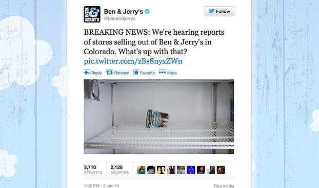 Ben & Jerry's: Colorado Tweet