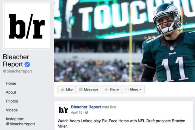 Bleacher Report's Facebook page.