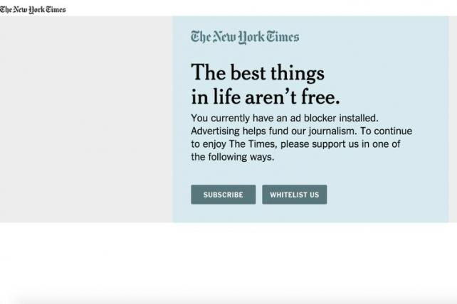 The New York Times is testing out approaches to combat ad-blocking
