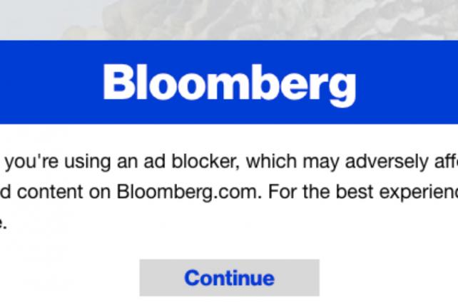 Bloomberg's Anti-Ad-Blocking Experiment Still Running Into Technical Problems