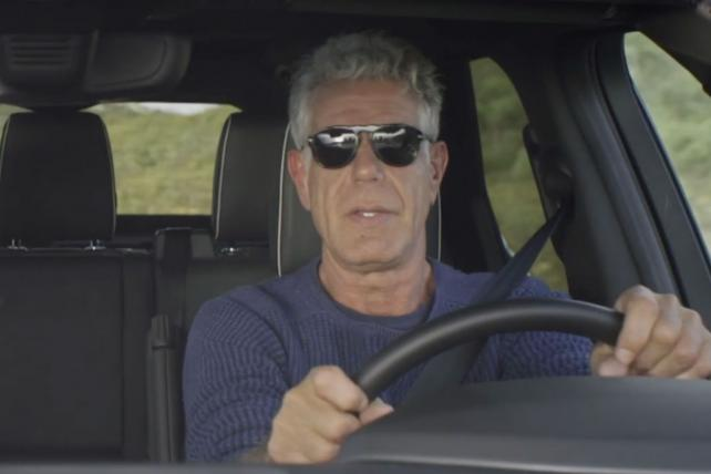 Anthony Bourdain Behind the wheel of Land Rover in CNN digital series