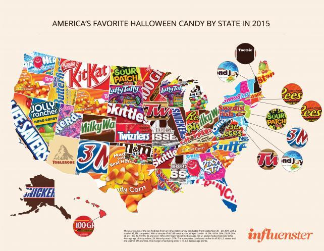 Influenster's Halloween candy map