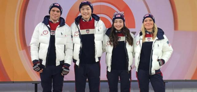 (L-R) Gus Kenworthy, Alex Shibutani, Maia Shibutani and Jamie Anderson wear the Closing Ceremony uniforms on NBC's 'Today' Show on Nov. 11, 2017 in New York City