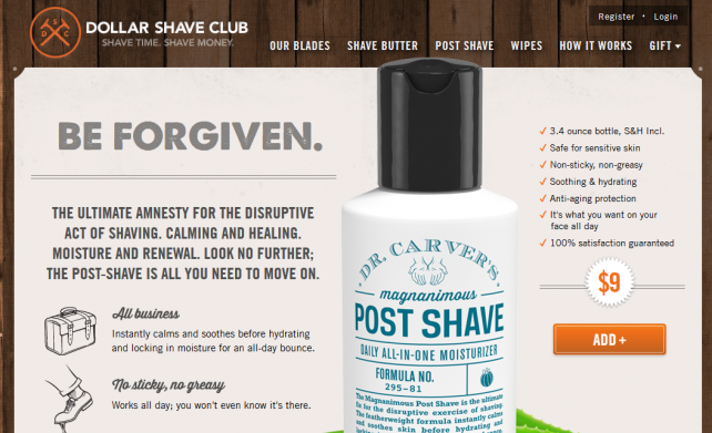 An anti-aging post-shave moisturizer for Dollar Shave Club