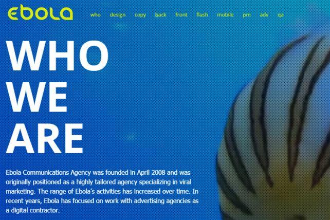 The website of Ebola, a digital and social agency based in Kiev.