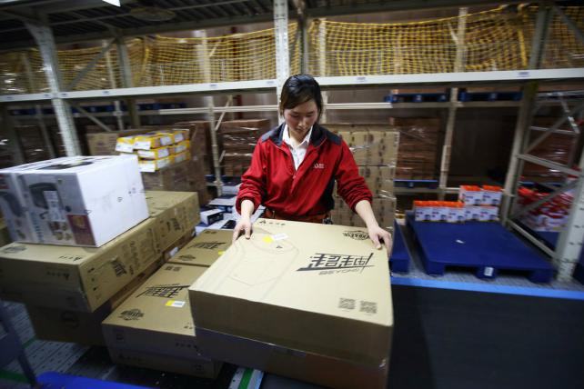 A Shanghai warehouse of Chinese e-commerce company JD.com