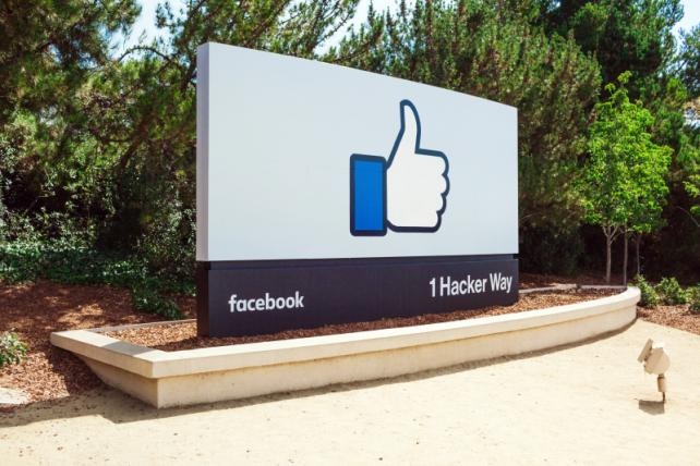 The sign outside the main entrance to Facebook headquarters.