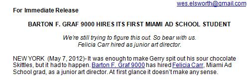 bfg9000 did not hire a miami ad school grad ad critic news adage bfg9000 advertising agency office