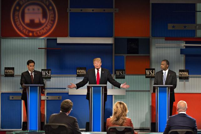 Ben Carson, Donald Trump and Marco Rubio in a presidential candidate debate hosted last November by Fox Business Network and the Wall Street Journal.