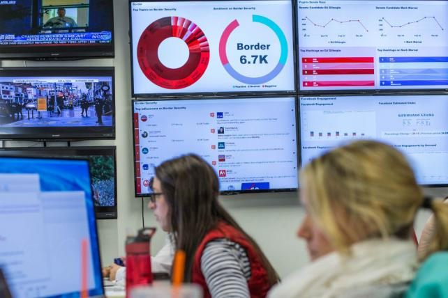Sprinklr Data Is visualized on monitors at the RNC's social-media command center
