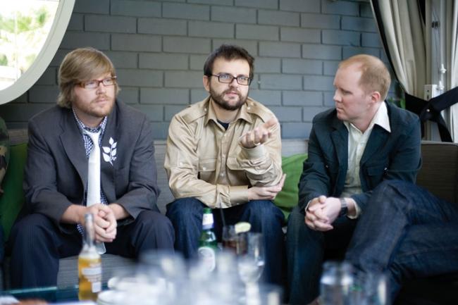 Happy's Richard Farmer (left) and Guy Shelmerdine with Grady Hall of Motion Theory (right)