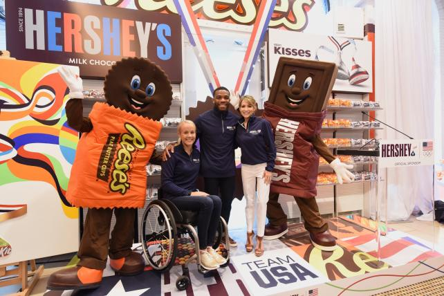 Mallory Weggemann, Jordan Burroughs and Shannon Miller at Chocolate World in Times Square