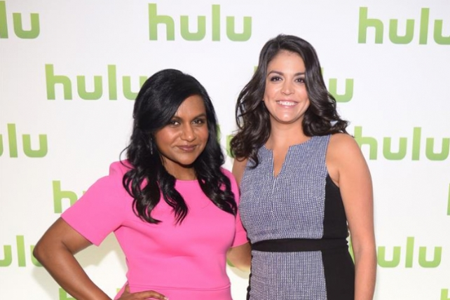 Cecily Strong from 'Saturday Night Live' and 'The Awesomes' and Mindy Kaling from 'The Mindy Project' at the Hulu NewFront on April 30, 2014.