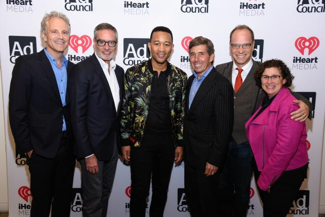 From left: John Sykes, President of Entertainment Enterprises of iHeartMedia; Bob Pittman, Chairman and Chief Executive Officer of iHeartMedia; John Legend; Rich Bressler, President, Chief Operating Officer and Chief Financial Officer of iHeartMedia; Josh Golden, Publisher of Advertising Age; and Gayle Troberman, Executive Vice President and Chief Marketing Officer of iHeartMedia.