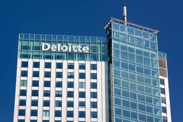 Rotterdam , Netherlands-august 13, 2015: Deloitte office in Rotteerdam deloitte does Tax Accounting, Consultanc and Financial advice