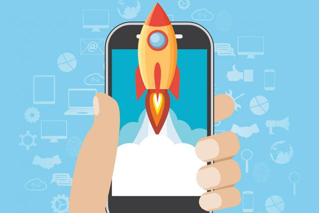 Hand holds smartphone with launch rocket Illustration