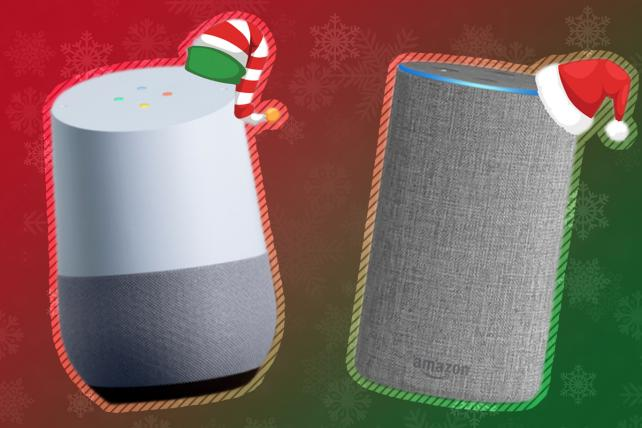 Google Home (left) and Amazon Echo