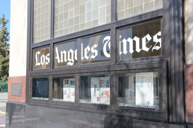 The Los Angeles Times headquarters in Los Angeles.