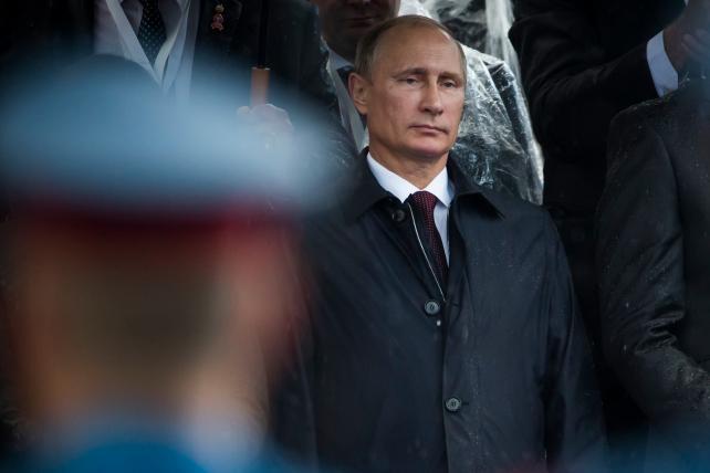 Russian President Vladimir Putin during a military parade in Belgrade.