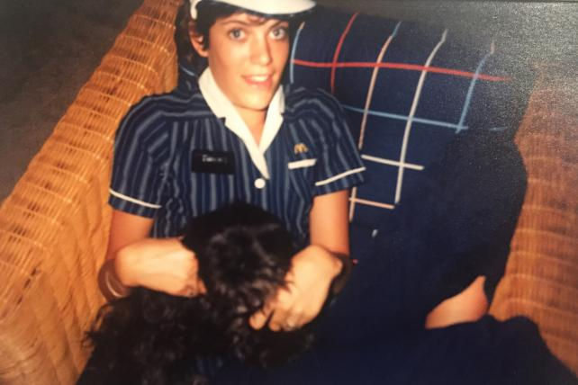 Wendy Clark in McDonald's uniform, the first time.