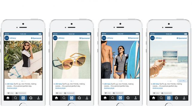 Old Navy is using Instagram's carousel ad for a day-in-the-life series.