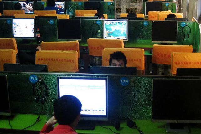 An internet cafe in Shanghai
