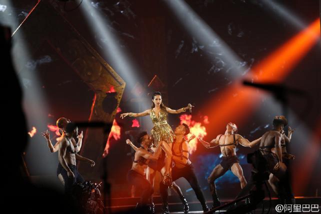 Singer Jolin Tsai performs at Alibaba's gala variety show.