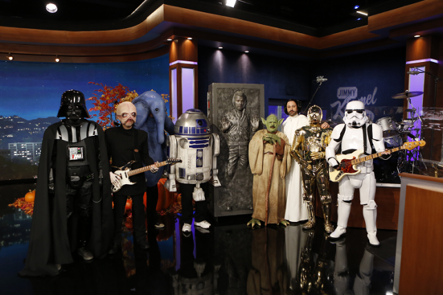 The cast of Jimmy Kimmel's talk show donned 'Star Wars' characters for Halloween.