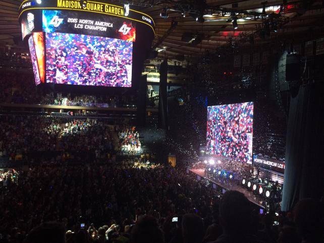 A packed crowded gave a standing ovation to team Counter Logic Gaming after its win at Madison Square Garden on Sunday.