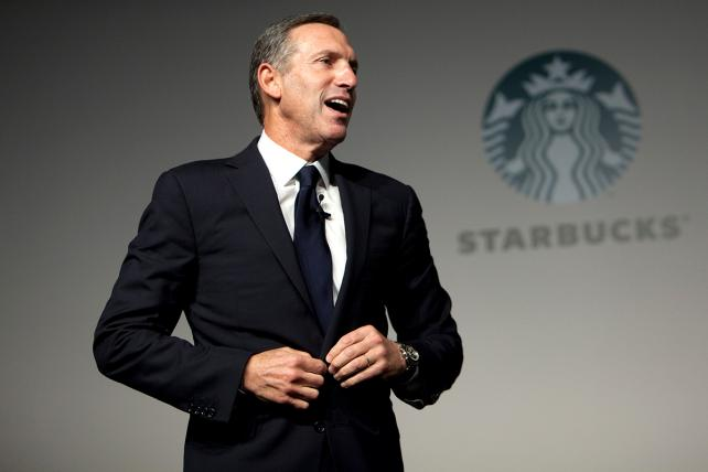 Howard Schultz speaks during a media event in Beijing in 2012, when he was chairman and CEO of Starbucks Corp.