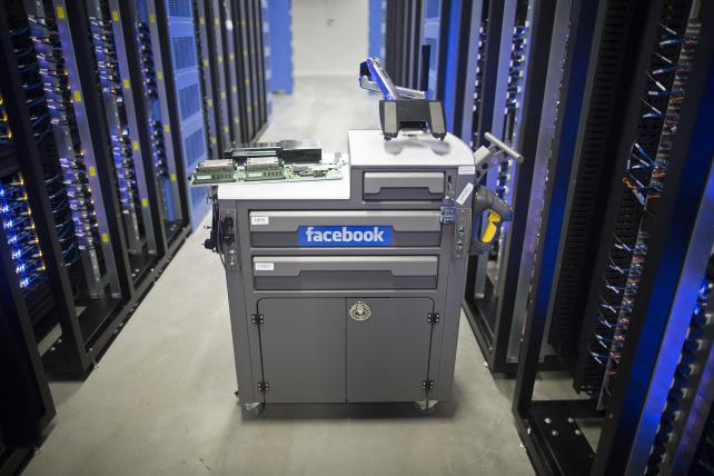 A tool and maintenance box, also known as a 'crash cart,' stands in the server hall at a Facebook data storage center near the Arctic Circle in Lulea, Sweden.