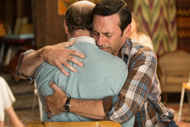 Don Draper (Jon Hamm) hugs Leonard (Evan Arnold) in the final episode.