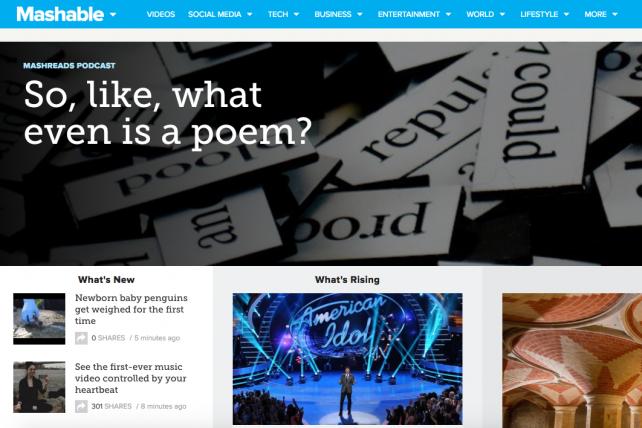 Mashable's homepage