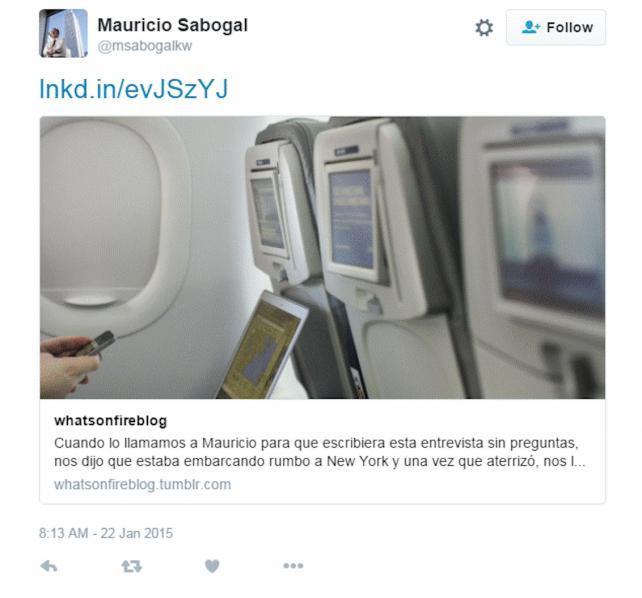 Mauricio Sabogal's tweet from last year