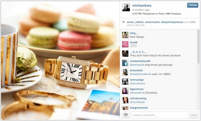 Michael Kors' November Instagram ad as seen on a desktop computer