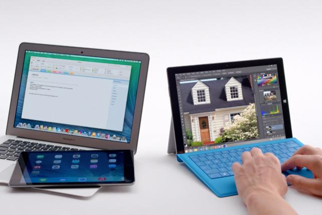 A recent ad promoting Microsoft's SurfacePro.