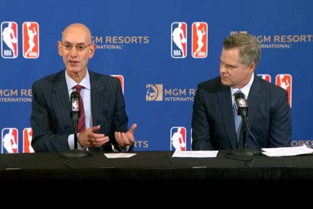 NBA Comissioner Adam Silver and MGM Resorts International Chairman Jim Murren.