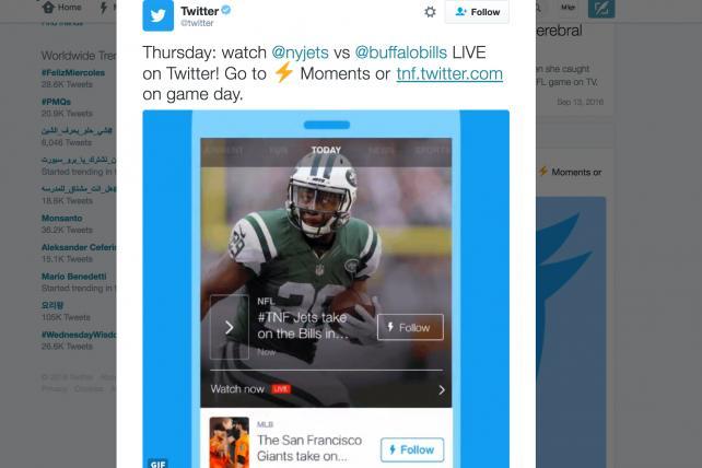 NFL Thursday Night Football streaming on Twitter