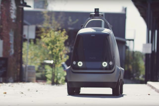 An autonomous vehicle outfitted with Nuro self-driving tech. Kroger has a deal with Nuro to test the delivery of groceries in driverless Toytoa Prius vehicles.