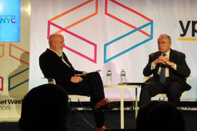 Penske Media Vice Chairman Gerry Byrne and New York Police Commissioner William Bratton at Internet Week on Wednesday.