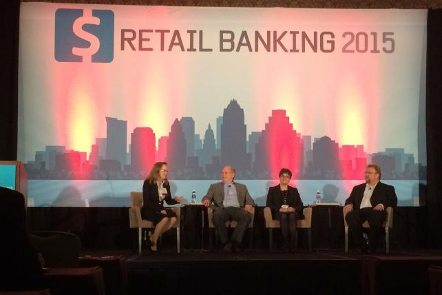 Penny Crosman, Bank Technology News; Steve Mott, BetterBuyDesign; Melanie Gluck, Mastercard; and Neff Hudson, USAA at the 2015 Retail Banking conference.