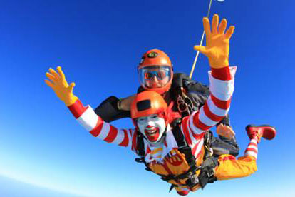 It's Raining Clowns: See Ronald McDonald Jump Out of a Plane