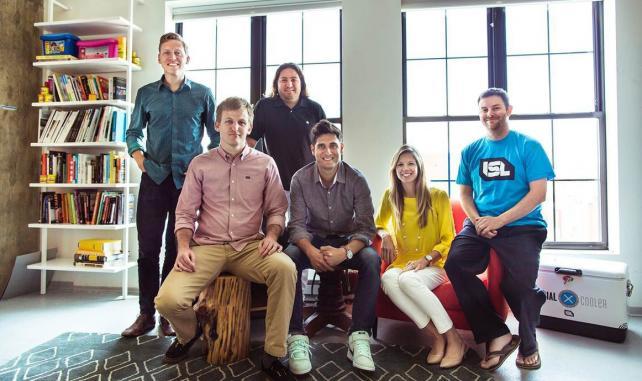 From left: Zach Goodwin, creative director; Nathan Smooth, CTO; Peter Corbett, CEO; DJ Saul, CMO-managing director; Kristen Rudzki, VP-client service; Joe Flasher, VP-engineering.