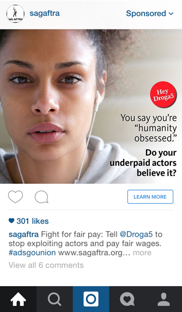 A sponsored on Instagram post bought by SAG-AFTRA.