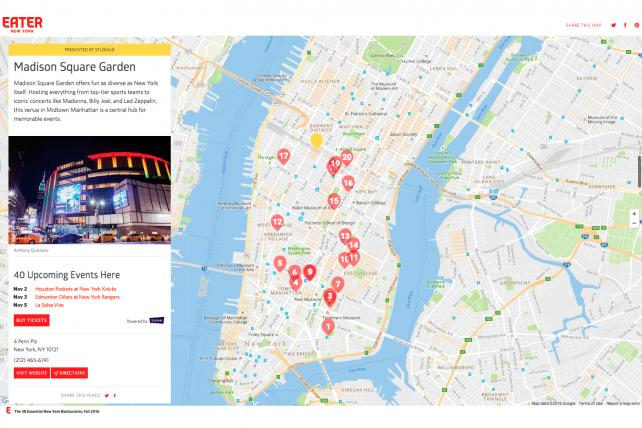 A restaurant 'Heatmap' on Vox Media's Eater includes a StubHub-sponsored integration for Madison Square Garden, where StubHub is selling tickets to events.