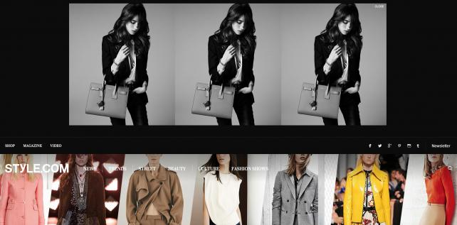 A highly visible Saint Laurent ad atop the Style.com homepage. Most ads are hardly so prominent.